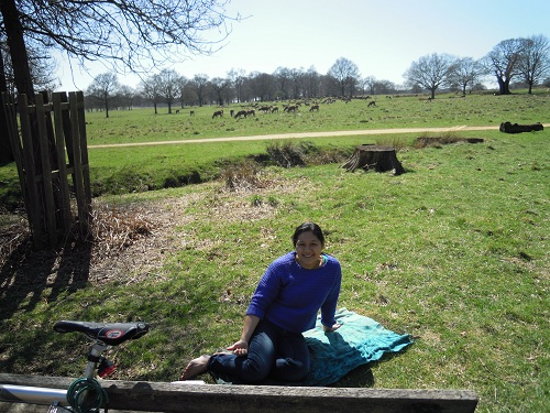 A lovely picnic in Richmond Park after cycling from home. Gawain's the photographer. Check out the deer behind me who were eventually scared away by a loose dog.
