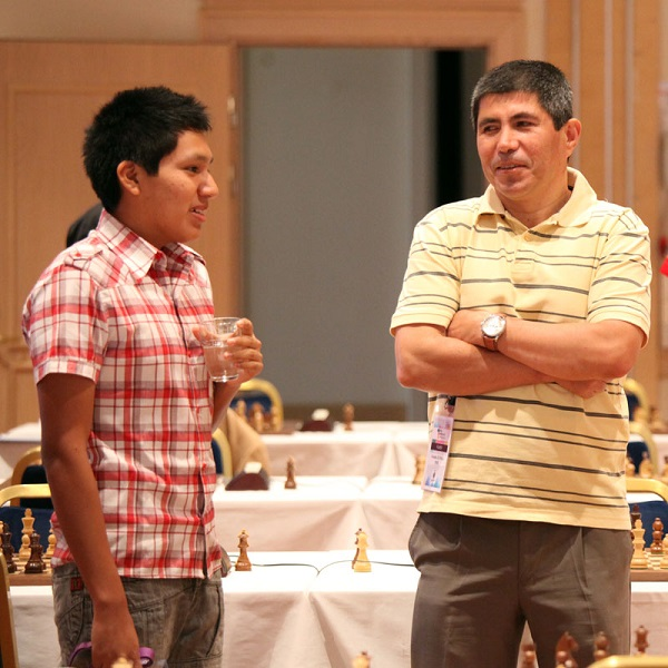 Two Peruvian GM the very strong Granda Zuniga and  the young Cori. Photo by Anastasia Karlovich