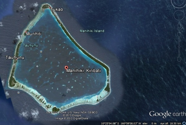 Manihiki also known as the Pearl Islands. A little atoll in the middle of the Pacific Ocean.