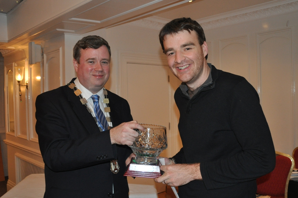 The Deputy Mayor of Limerick, Cllr. Diarmuid Scully presenting me with the trophy