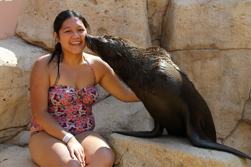 Cuddling with sea lions (she's actually a  South African Fur Seal)