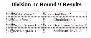Round 9 Pairings. White Rose face the might of Guildford 1