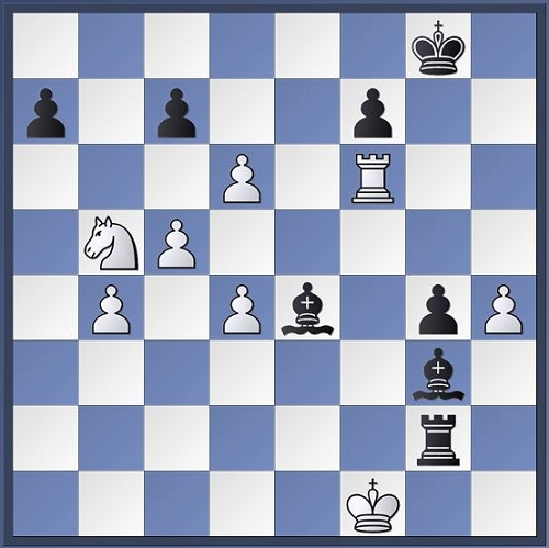 Round 1 Williams vs O'Brien. Could you see how Black could've finished white off? Here he erred with Rh2 and eventually lost the game.