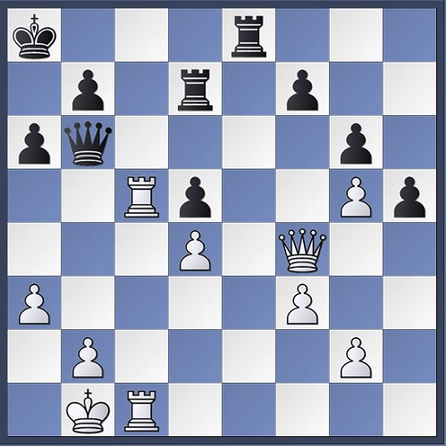 Here my young opponent blundered with 28...Qb6. Can you see my follow up?