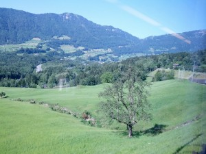 A beautiful view of the Swiss countryside from the train