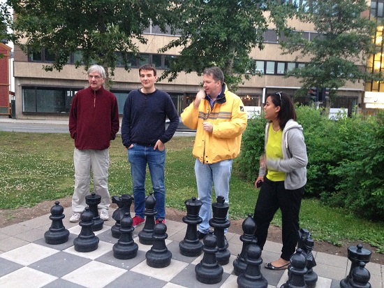 First day exploring which included an English team chess game . My team won! :-)