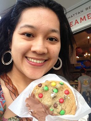 Me and my chipwich. Vanilla ice cream sandwiched between a m&m cookie and macadamia nut cookie dipped in milk chocolate.