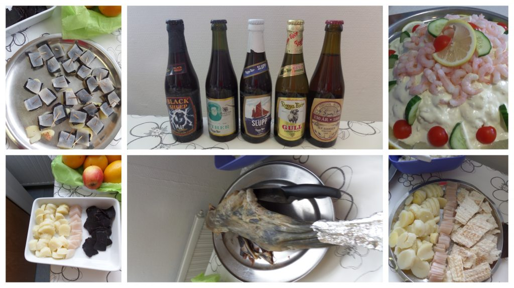 There's Faroese Beer, Dried Whale, Blubber, Dried Fish, Dried Fermented Sheep and Fish Salad.